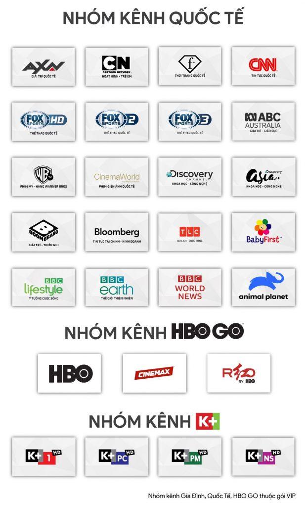 Nhóm kênh quốc tế: HBO Go, K+